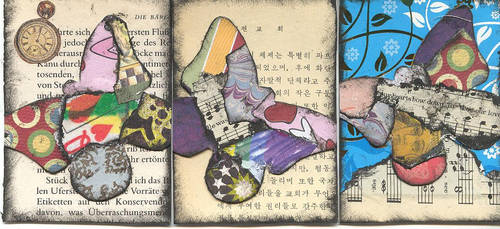 ATCs - Collage Butterflies by Bonzo-1039