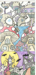 ATCs - Whimsical Neighborhoods by Bonzo-1039