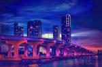 Miami at Night by Miztliyuma