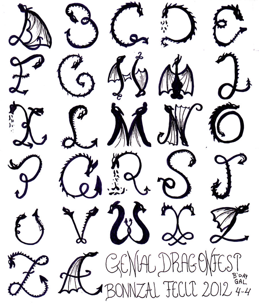Bonnzai Bday Present Dragon Alphabet By