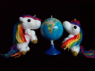 Two Rainbow Unicorn Amigurumi by Bonnzai