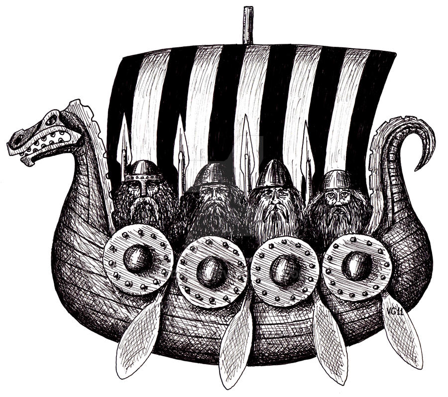 Vikings in drekar black and white pen ink drawing by vitogoni