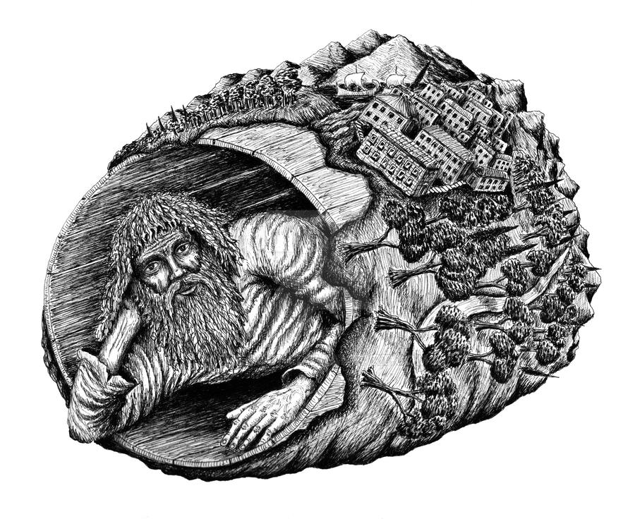 Diogenes surreal pen ink drawing by vitogoni