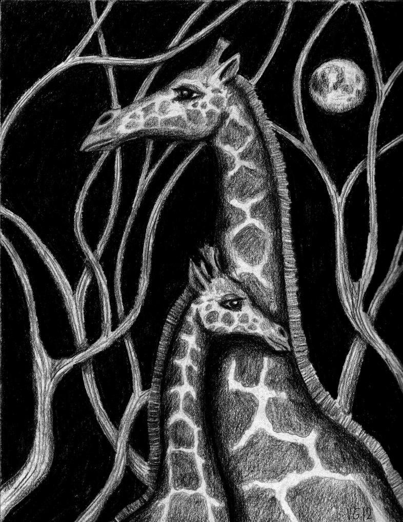 Giraffes colored pencils on paper drawing by Vitogoni on ... Cool Giraffe Drawing