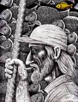 Old Fisherman pen ink drawing