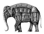 Elephant Building surreal pen ink drawing