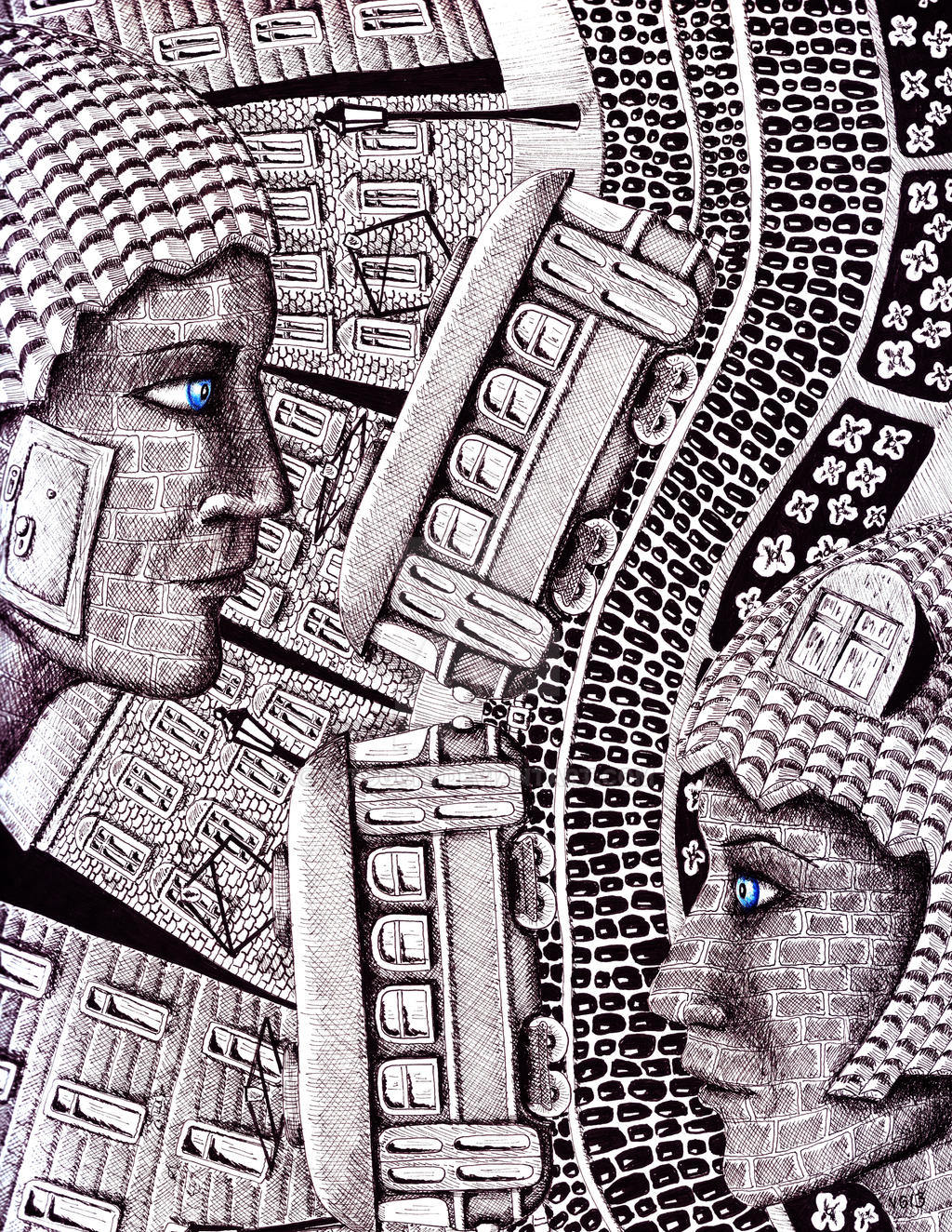 city love ink pen and colored pencils surr drawing by