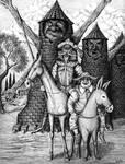 Don Quixote and Sancho Panza ink pen drawing