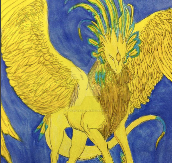 Dragon art gold feathered do dragons eat gold