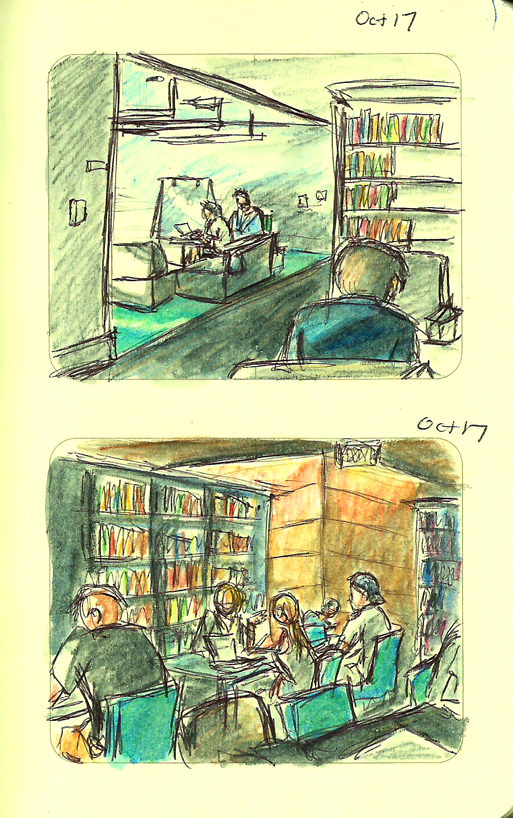 17 Library Sketch by ange-of-the-top-hat