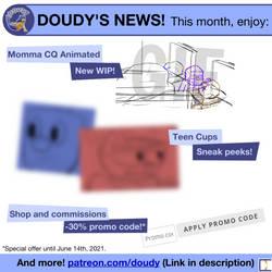Doudy's news! (Momma CQ, Teen Cups, shop discount)