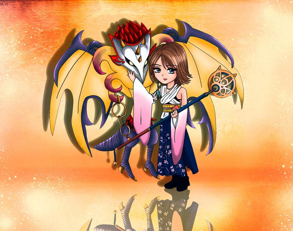 Yuna and Valefor by Lady-Azaleia