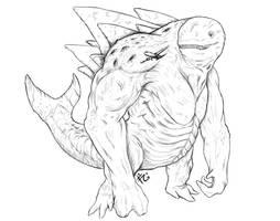 Whalekaiju Sketch Small by verdilaksBreeding