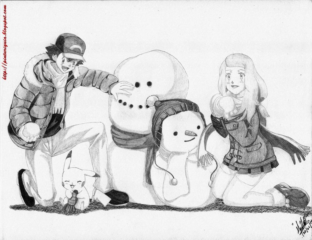 Pokemon Satoshi Y Serena Navidad by shinamvec