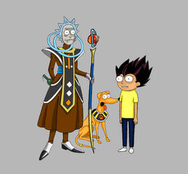 Angels Rick and  and Vegeta Morty