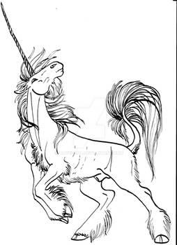 Rearing unicorn lineart