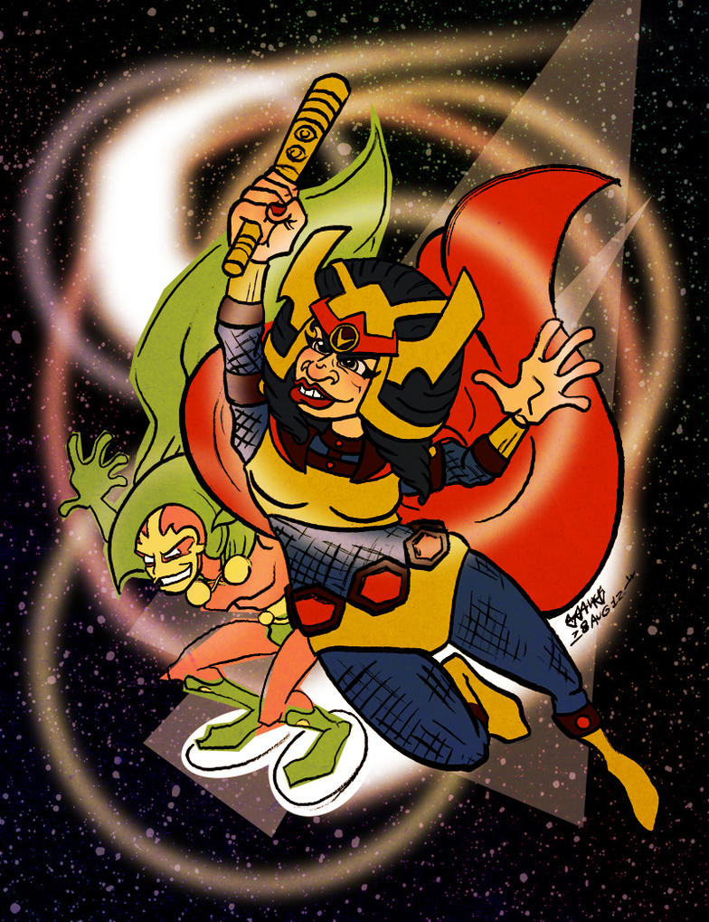 Big Barda and Mister Miracle by JoJo-Seames