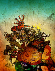 Junkrat and Roadhog by jojoseames