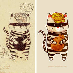 Catburglar - Sketch and Final version