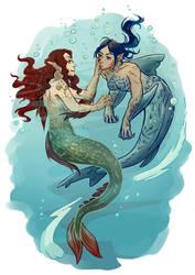 Person of Interest - Root x Shaw mermaids by Maarika