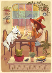 Isobel and Marshmallow - Postcard design by Maarika