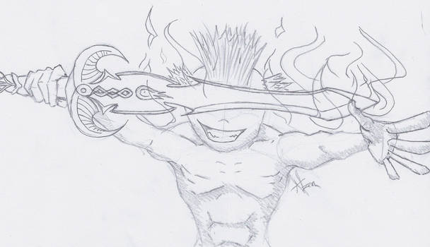 Mohawk man with a firesword