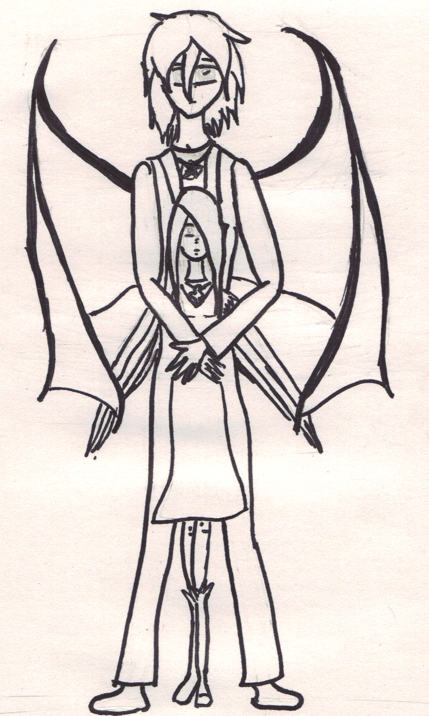 angel and demon unearthly love drawing by polarbearpowers on