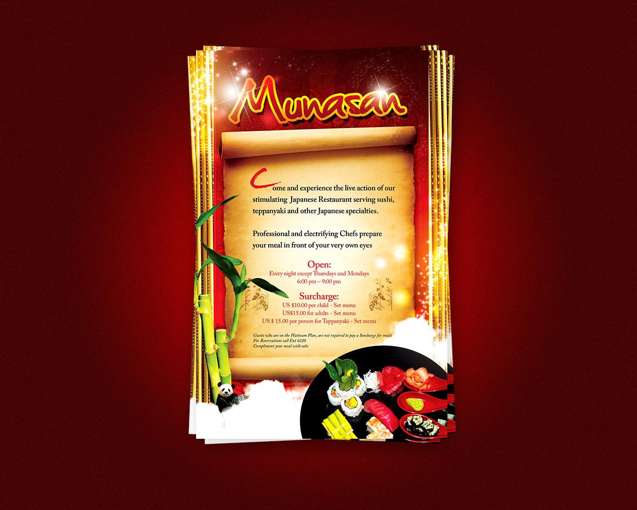 Munasan restaurant flyer by artofmarc on deviantart