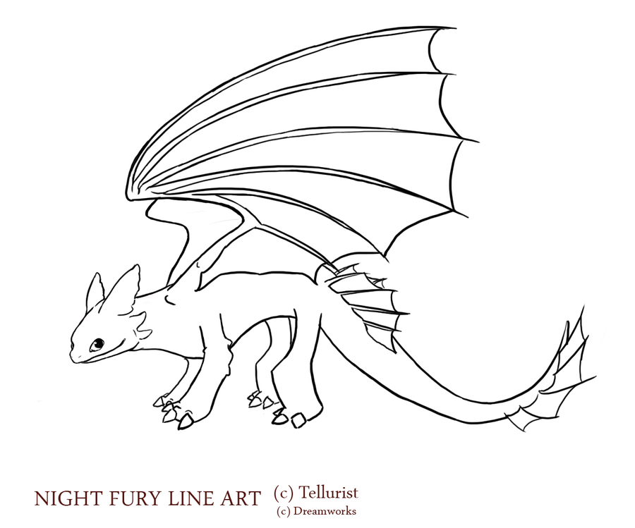 Line Drawing Your Photo : Night fury line art v updated by tellurist on deviantart