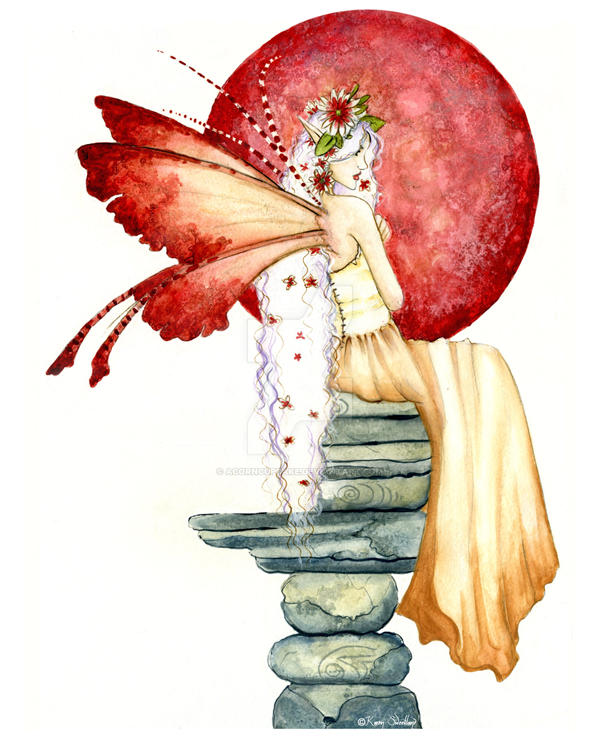 Faerie with Red Orb by Acorncupcake