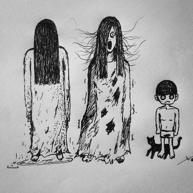 Sadako, Kayako e Toshio by tomniemand
