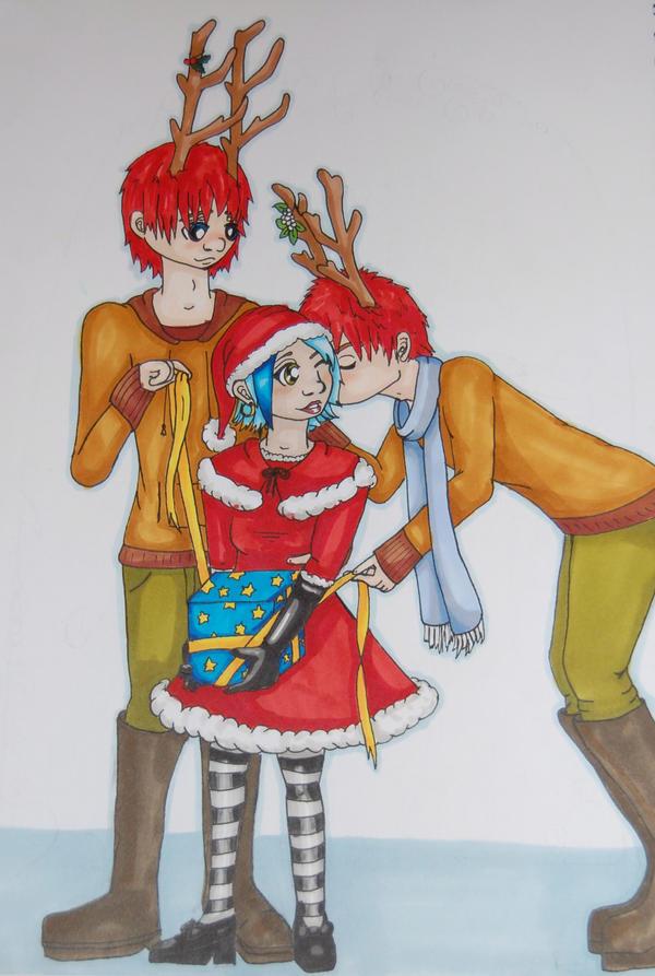 Santa loves her Reindeer by BedraggledKitty