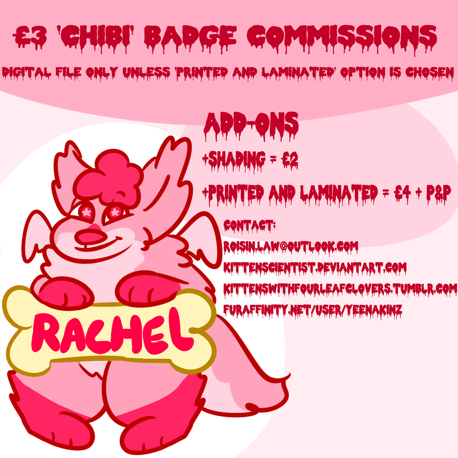 'Chibi' fursuit badge commissions! 3 quid ($4.67) by kittenScientist