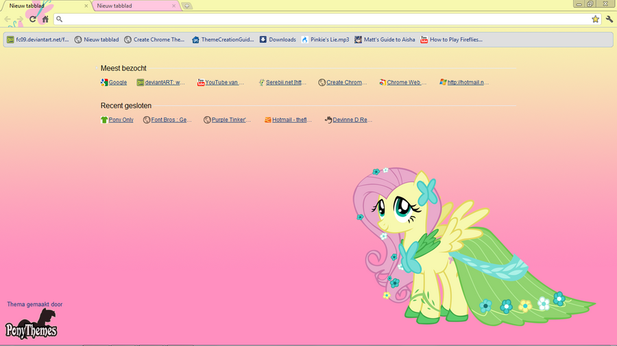 Fluttershy Google Chrome Theme by Julien12826