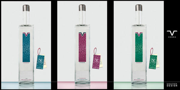V Vodka label Design by sanjcek
