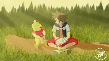 A Sunny Day with Sora and Pooh by RyMoltAnimation