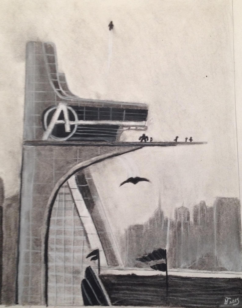 Avengers Tower Smaller Drawing By DarkMatterNat On DeviantArt