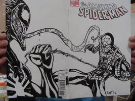 Spider-man Vs. Venom Sketch Cover by amtaylor12