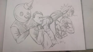 Kung Fu Hitler vs Cyclops and Jack in the Box by amtaylor12