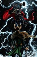 Thor vs Loki Color by amtaylor12