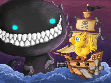 A Chocobo on a pirate ship facing a final boss