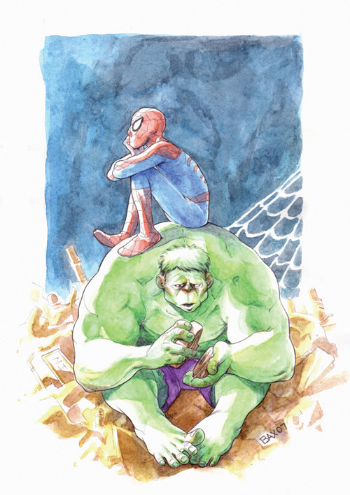 Hulk and Spiderman by juliabax