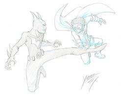 Batman Beyond vs Damian by wfbarton