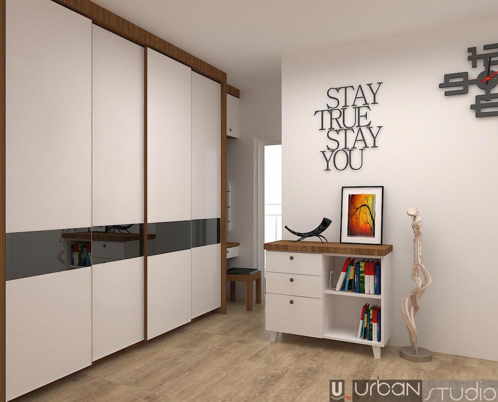 Interior bedroom apartment by hermawanwibowo