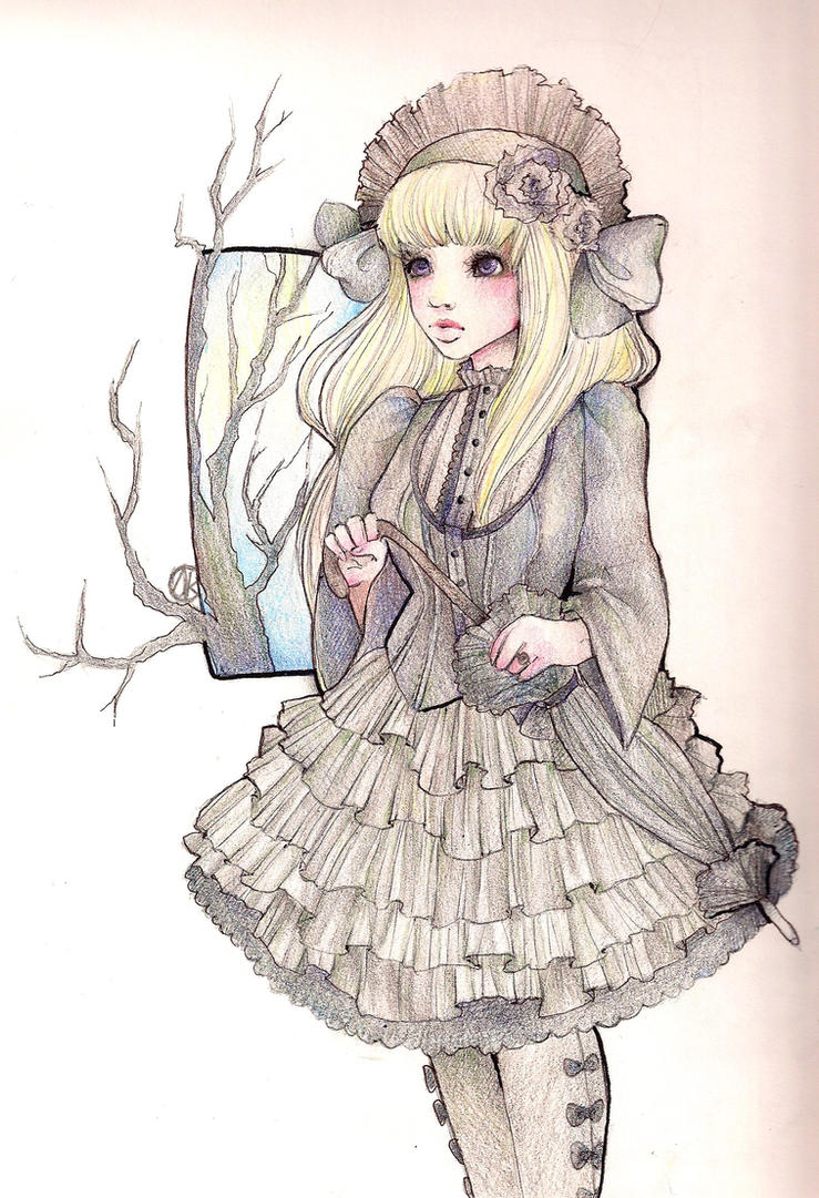 Gothic Lolita Drawing By Sparkling Dusk Manga Anime Traditional Media