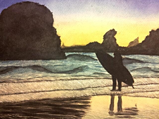 surfer silhouette by Muirrine