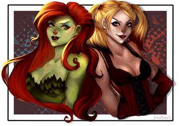 [Commission] Poison Ivy and Harley Quinn by JusTori