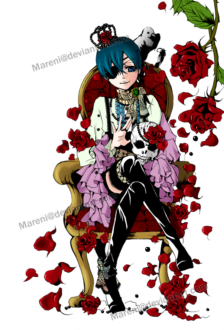 Coloring - Ciel + Roses by Mareni