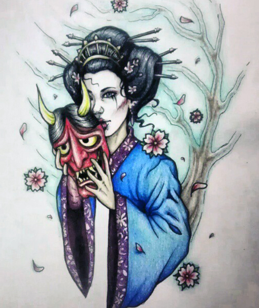 geisha tattoo design by myhedhertz on deviantart. Black Bedroom Furniture Sets. Home Design Ideas