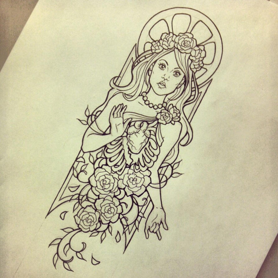 Traditional Tattoo Line Drawing : Enlightenment tattoo design linework by myhedhertz on